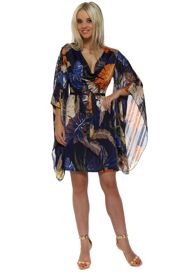 Troiska Blue Palm Print Jersey Kaftan Tie Dress