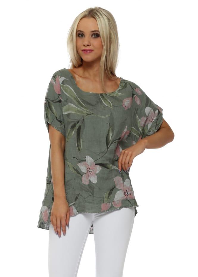 Italian Boutique Khaki Floral Glitter Trim Linen Top