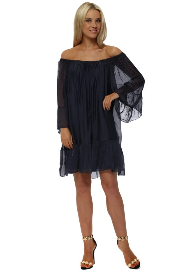 Made In Italy Navy Blue Silk Frill Tunic Dress