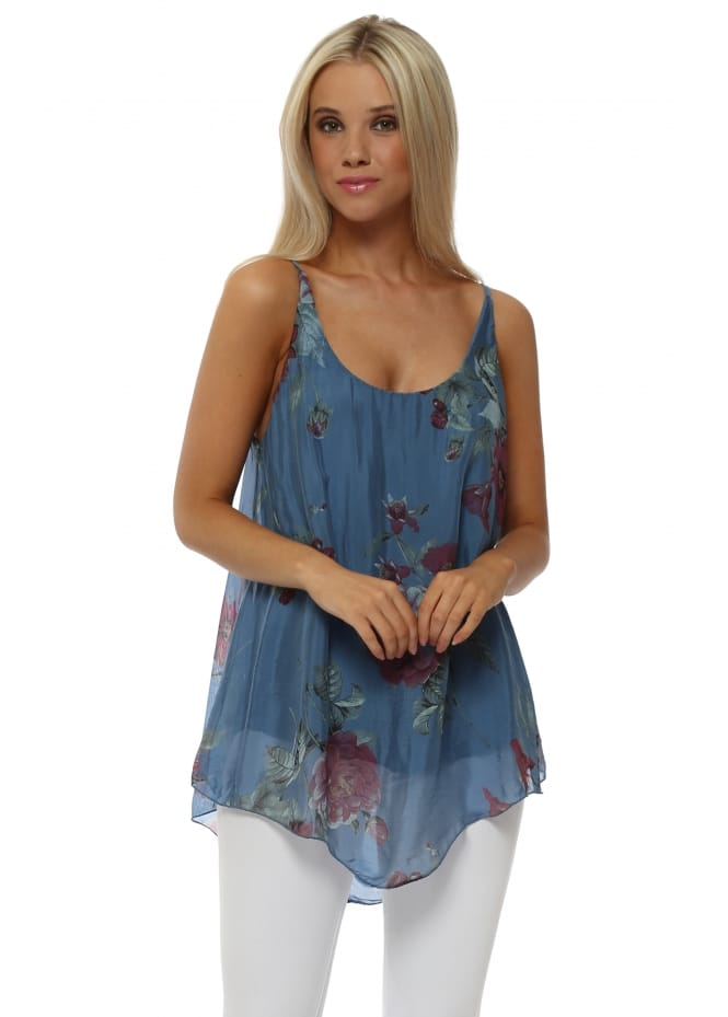 French Boutique Denim Blue Floral Print Silk Vest Top