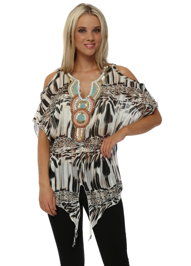 French Boutique Black Tiger Print Beaded Cold Shoulder Top