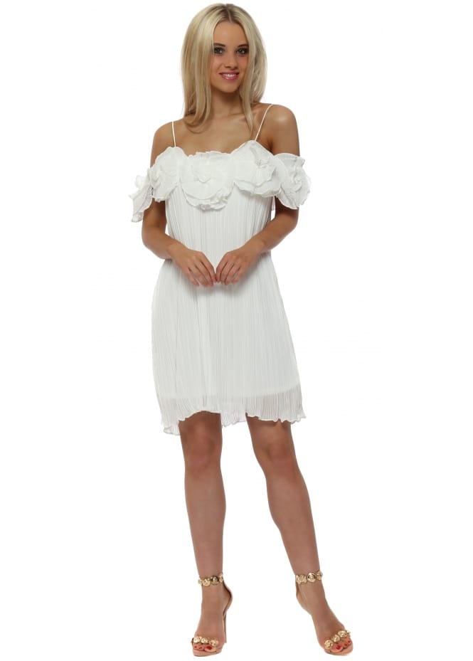 French Boutique Flower Embellished White Pleated Mini Dress