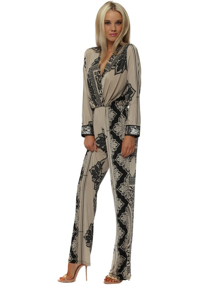 My Story Taupe & Black Printed Jersey Jumpsuit