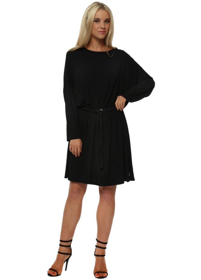 A Postcard From Brighton Sunny Drawstring Waist Jersey Dress In Black