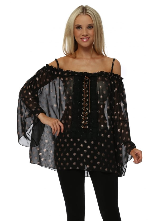My Story Black Semi Sheer Tie Up Gold Spot Off The Shoulder Top