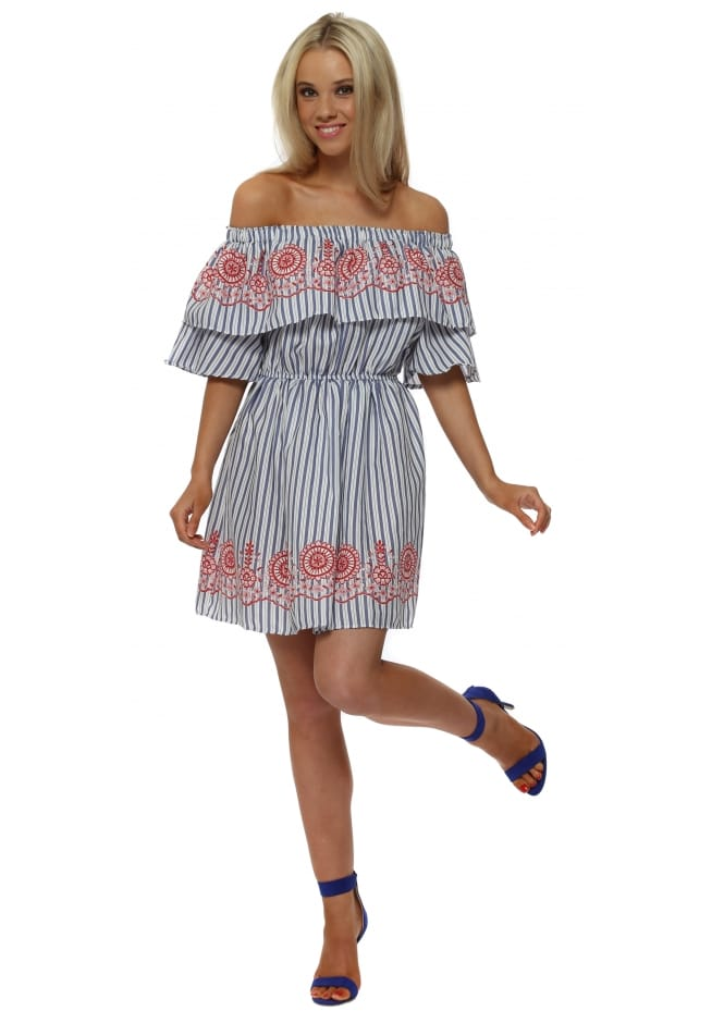 French Boutique Embroidered Bardot Pinstripe Ruffle Dress