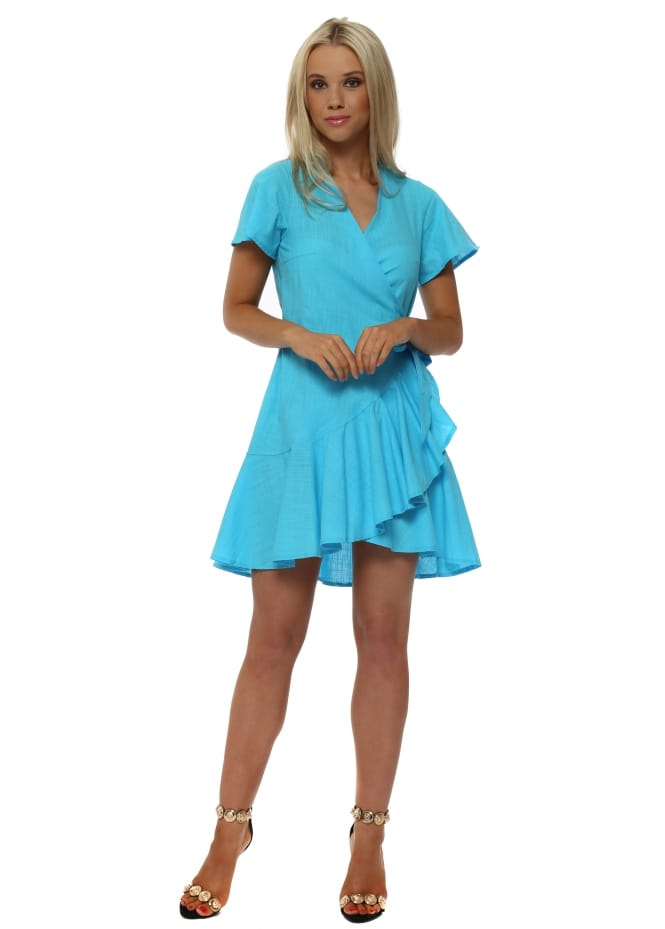 French Boutique Turquoise Blue Cotton Wrap Over Ruffle Dress