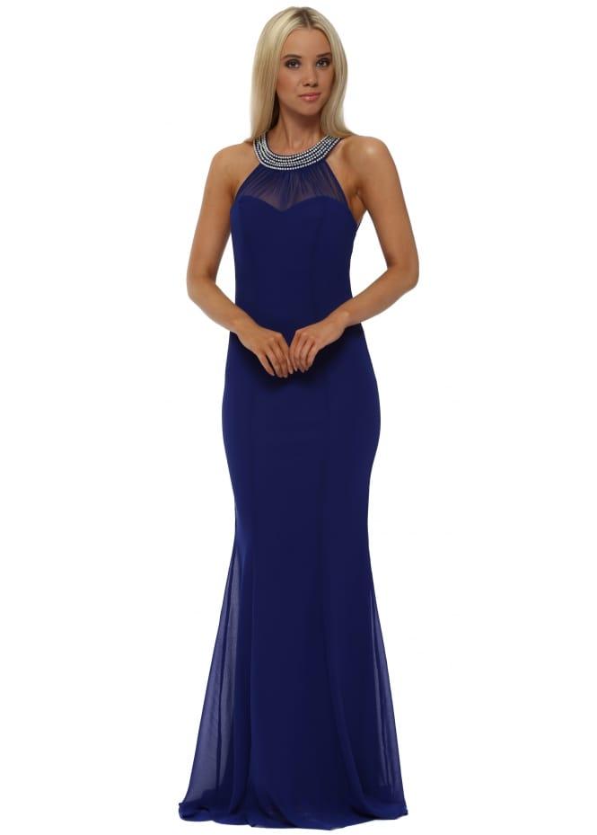 Goddess London Royal Blue Embellished Fishtail Maxi Dress