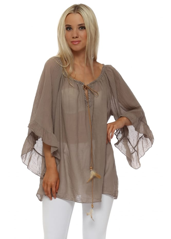 Made In Italy Taupe Cotton Flared Sleeve Feather Tie Top