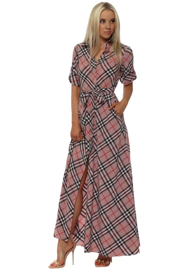 Goddess London Pink Check Maxi Shirt Dress