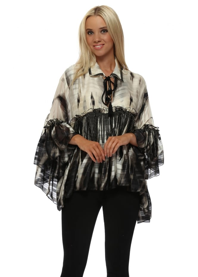 Laurie & Joe Black & Ivory Oversized Shirt With Tan Stud Tassels