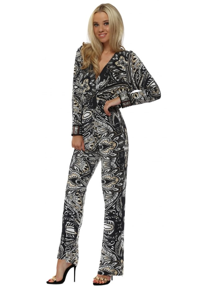 My Story Black & White Baroque Print Jumpsuit