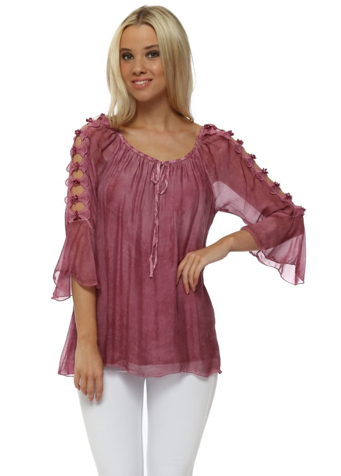 Made In Italy Raspberry Pink Silk Floral Pearl Ladder Sleeve Top