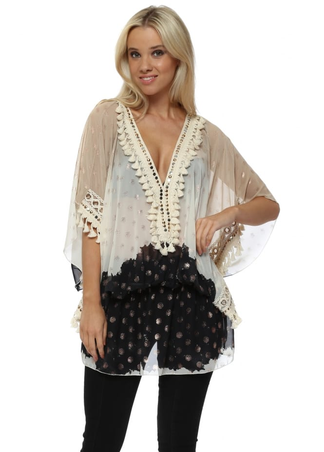 Laurie & Joe Cream & Black Bronze Spot Kaftan Top