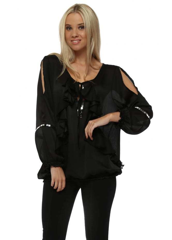 My Story Black Ruffle Front Cold Shoulder Blouse Top