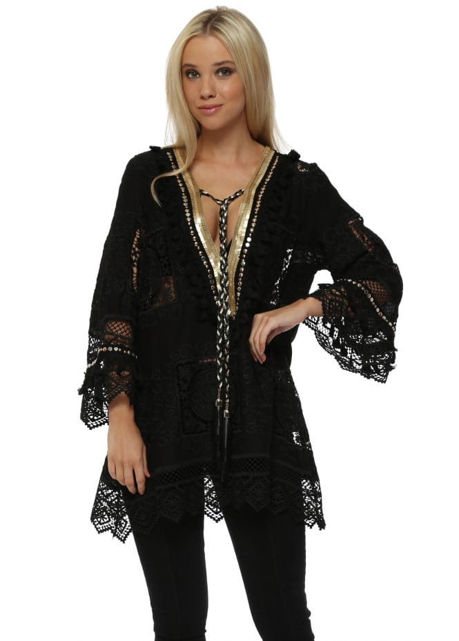Laurie & Joe Black Crochet Lace Gold Sequin Tunic Top