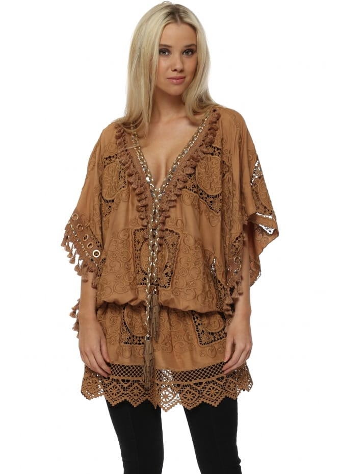 Laurie & Joe Tan Crochet Lace Tassel Embellished Kaftan Top