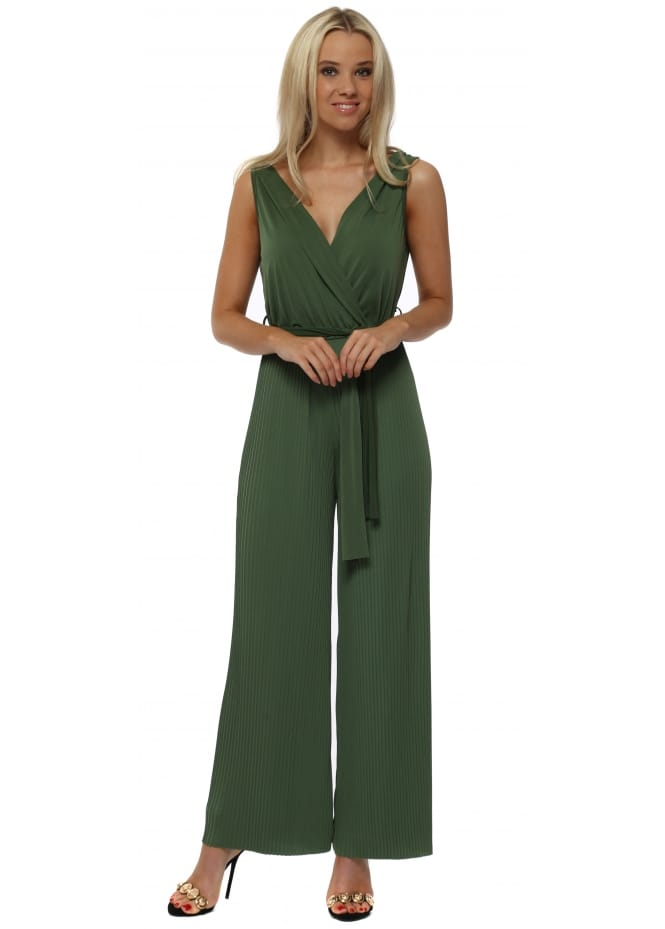 French Boutique Green Slinky Pleated Wide Leg Jumpsuit