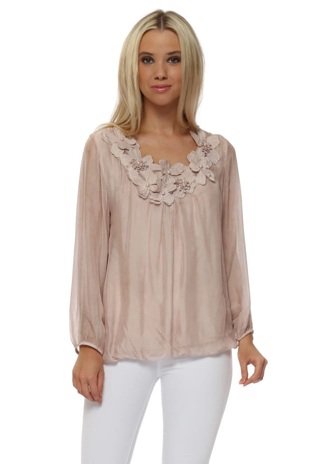 Made In Italy Dusky Pink Silk Embroidered Floral Pearl Top