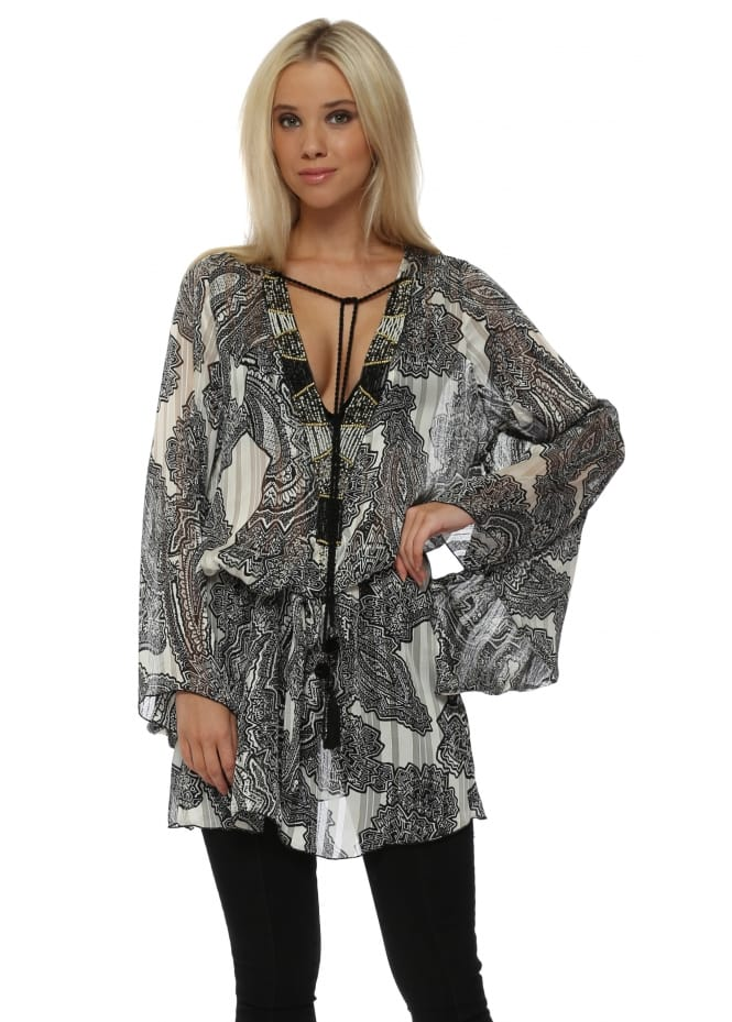 My Story Monochrome Paisley Print Beaded Neckline Top