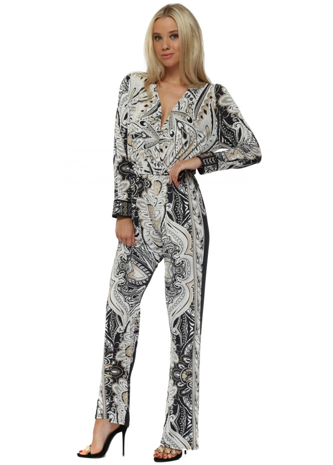 My Story White & Black Baroque Print Jumpsuit