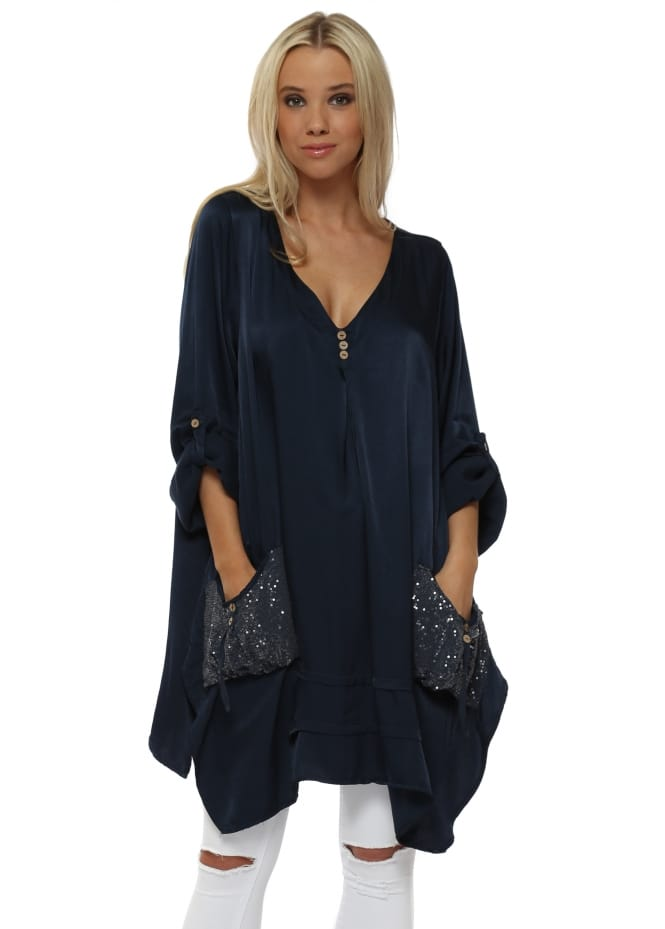 Monton Navy Blue Satin Sequinned Pockets Tunic Top