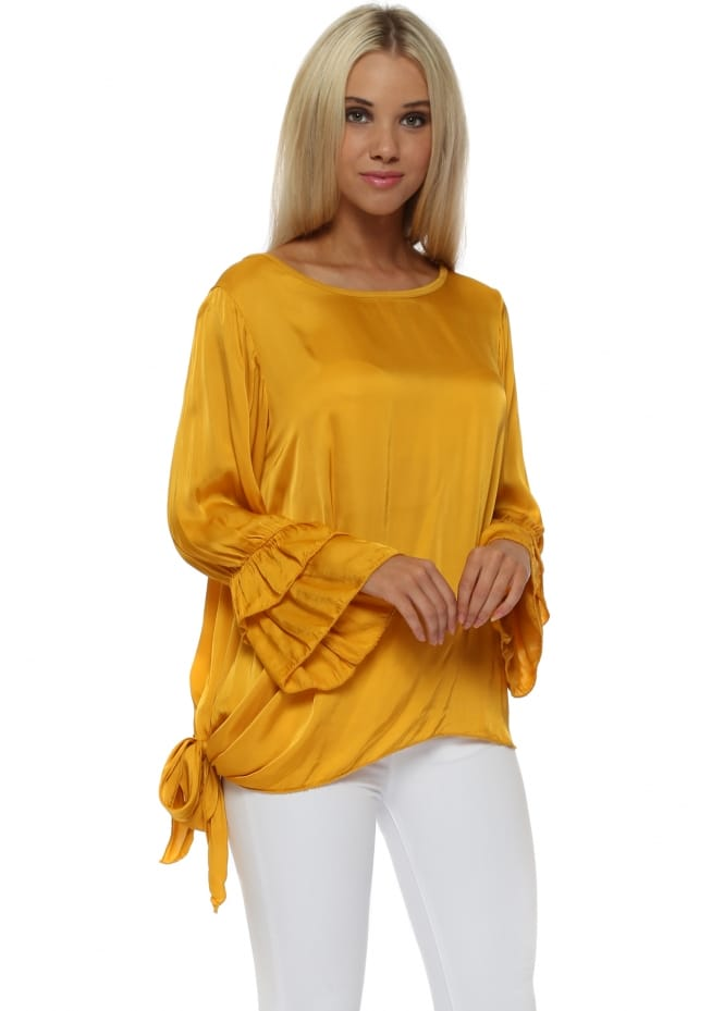Made In Italy Mustard Tie Side Ruffle Cuff Silk Top