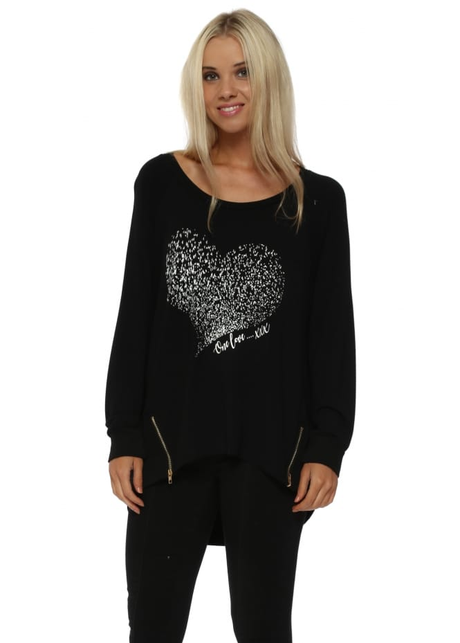 A Postcard From Brighton Starling Heart One Love Zip Sweater In Black