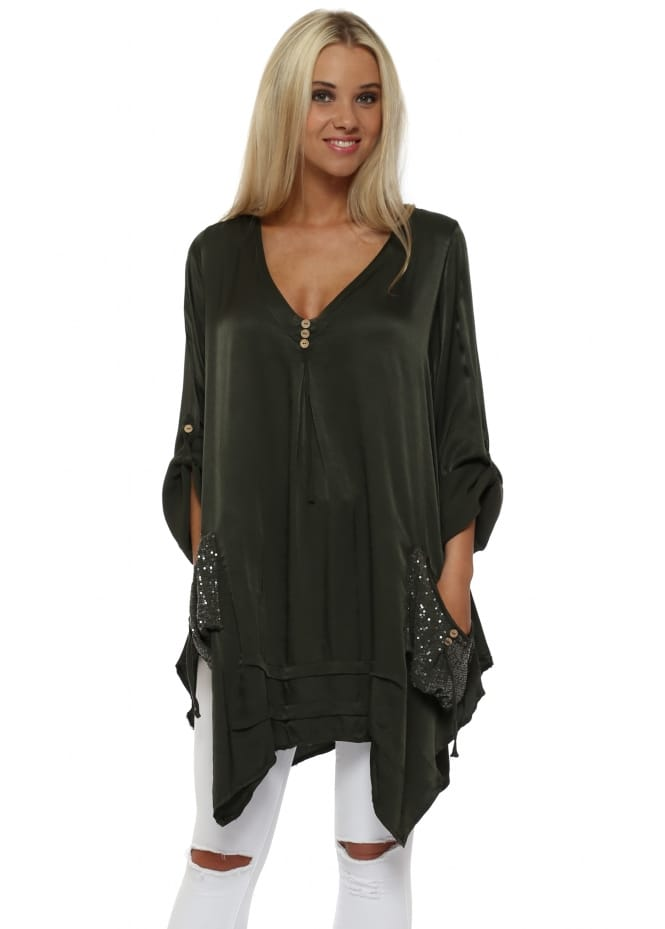 Monton Dark Green Satin Sequinned Pockets Tunic Top