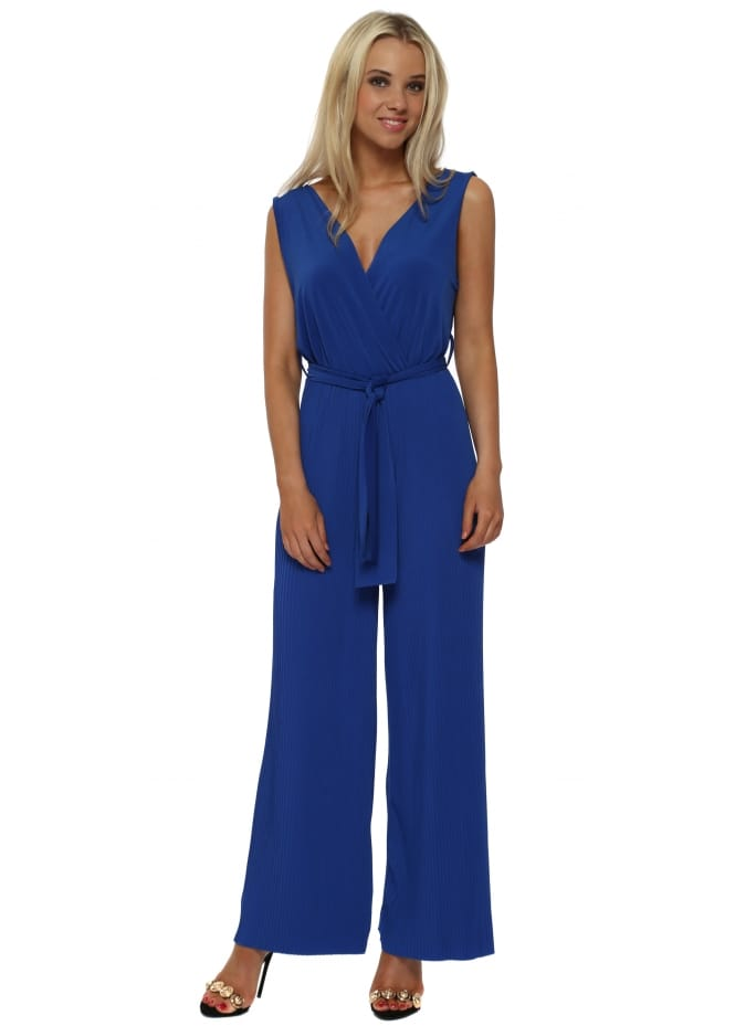 French Boutique Royal Blue Slinky Pleated Wide Leg Jumpsuit