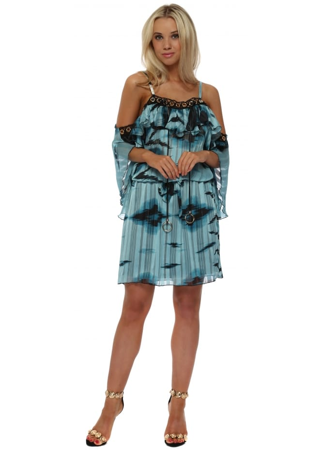 My Story Turquoise Abstract Print Gold Circle Cold Shoulder Dress