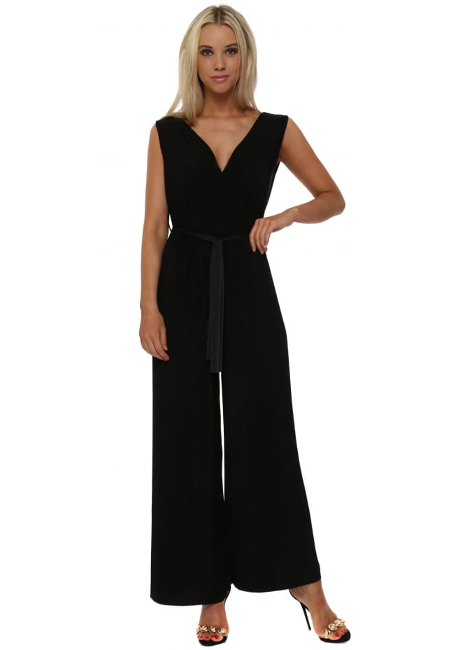 French Boutique Black Slinky Pleated Wide Leg Jumpsuit