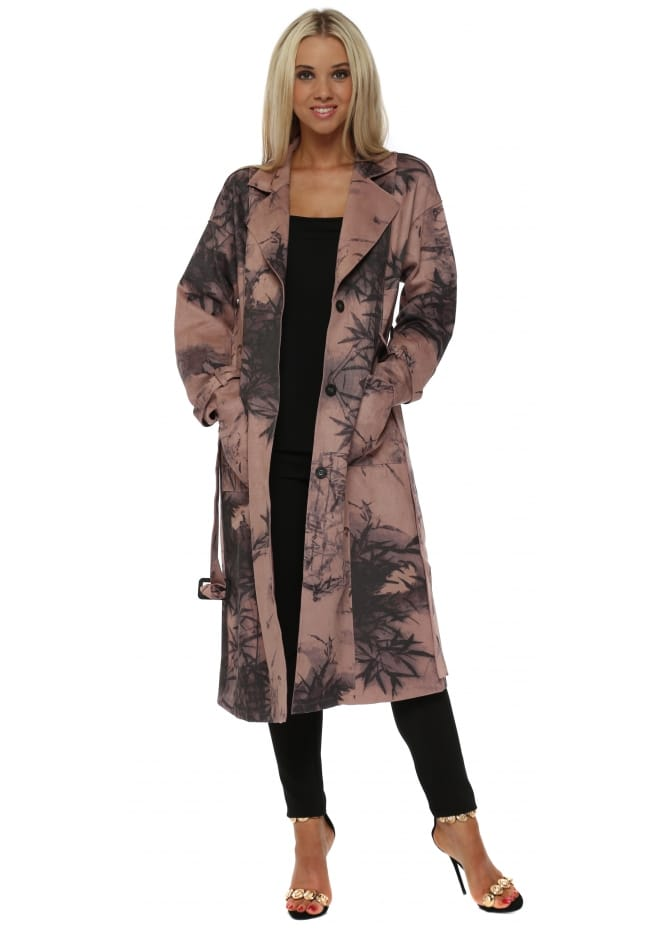 JayLey Luxury Faux Suede Pink Digital Print Trench Coat