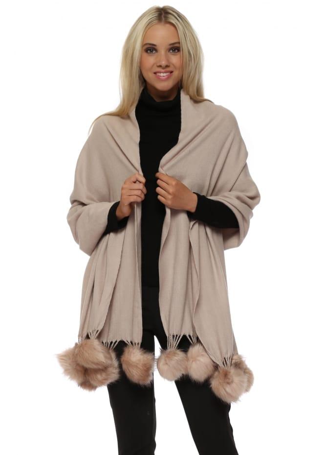JayLey Rose Pink Cashmere Faux Fur Pom Pom Wrap
