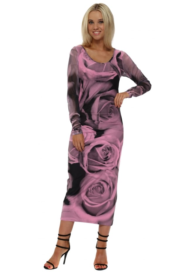 A Postcard From Brighton Pia Photo Rose Passion Chiffon Sleeve Midi Dress