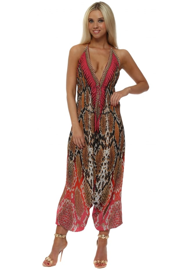 Woodford & Reay Exotic Pink Snake Print Halter Neck Jumpsuit