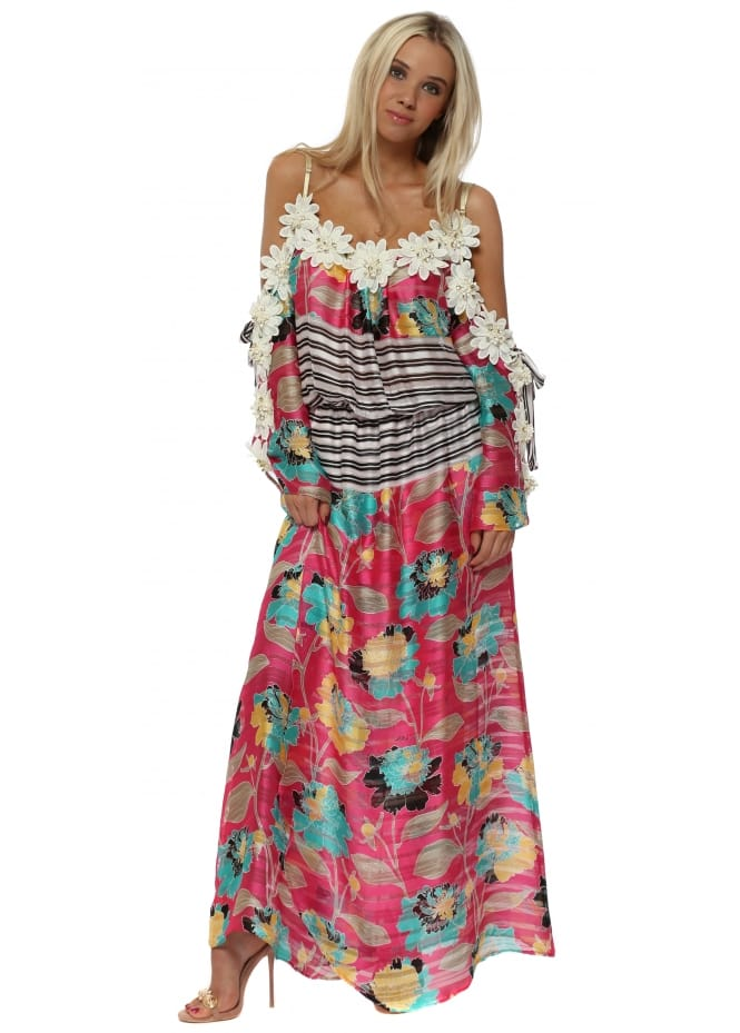 Monaco Cold Shoulder Floral Embellished Maxi Dress