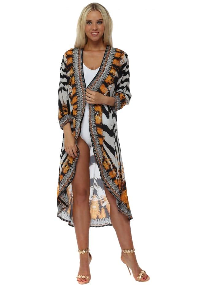 Woodford & Reay Exotic Zebra Print Crystal Kimono