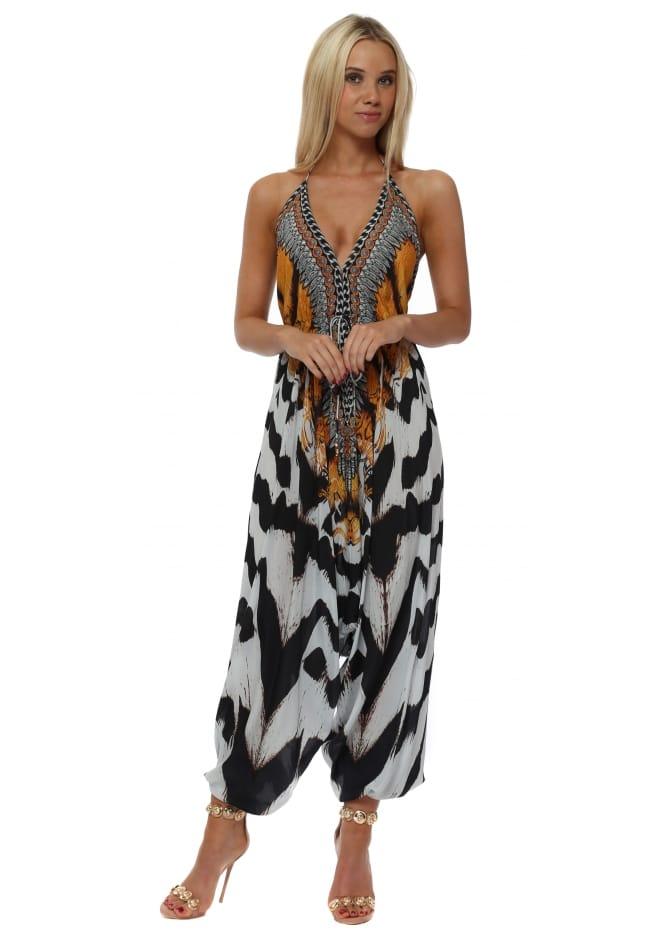 Woodford & Reay Exotic Zebra Print Halter Neck Jumpsuit