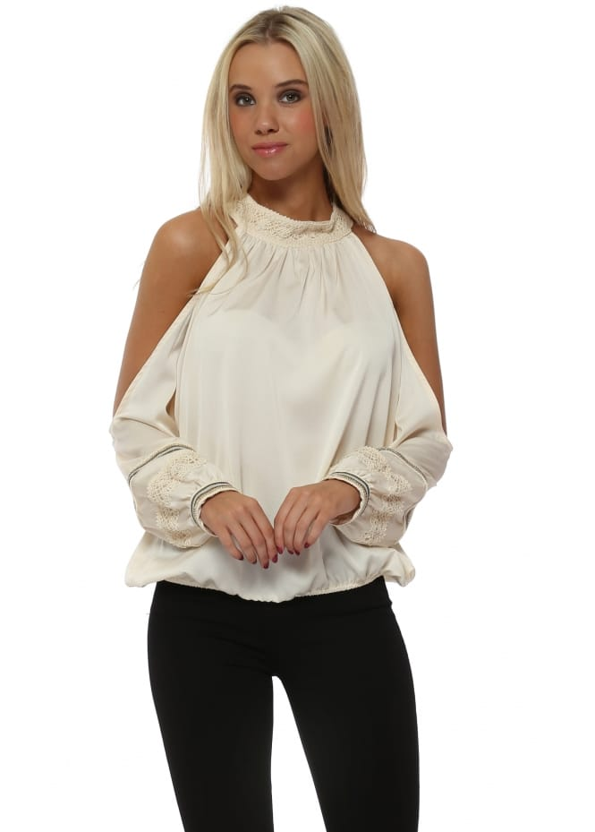 Monaco Cream Silky Halterneck Cold Shoulder Beaded Top