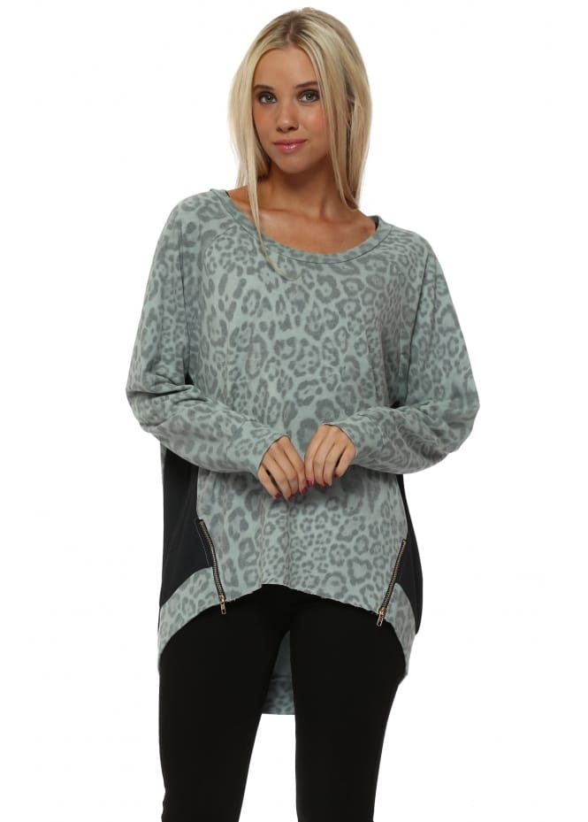A Postcard From Brighton Silt Blaire Big Leopard Kat Zip Sweater