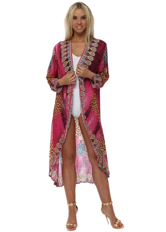 Woodford & Reay Fucshia Ocelot Crystal Kimono