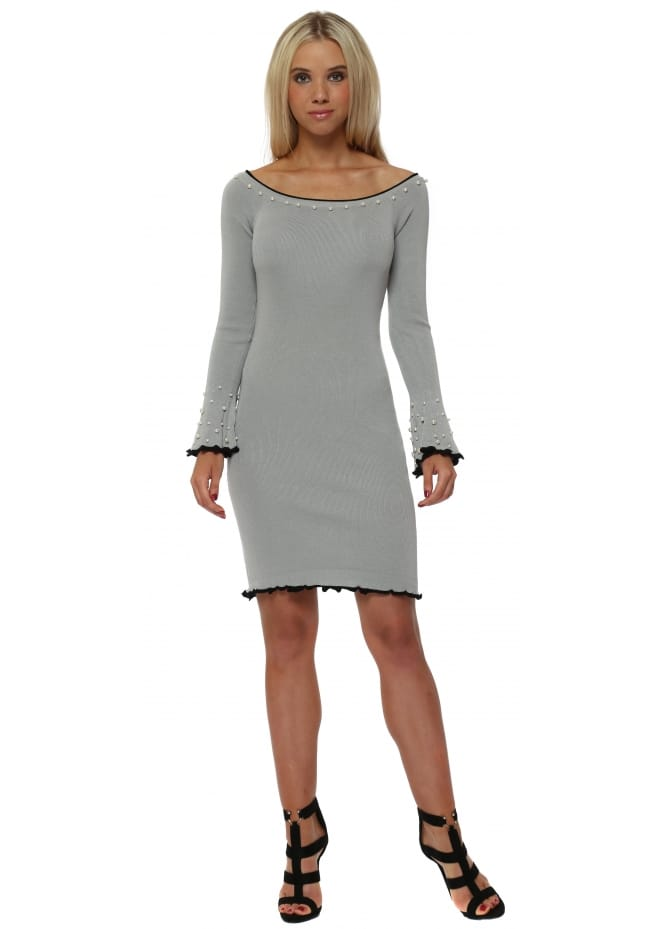 French Boutique Grey Knitted Dress With Pearl Embellishment