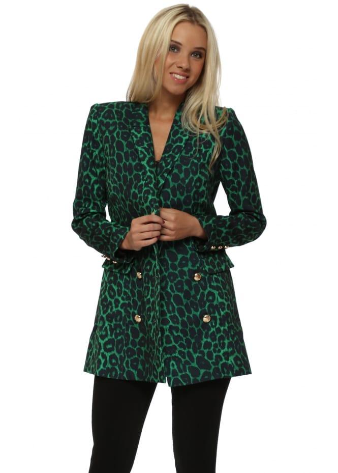 Drole de Copine Green Leopard Print Gold Button Blazer
