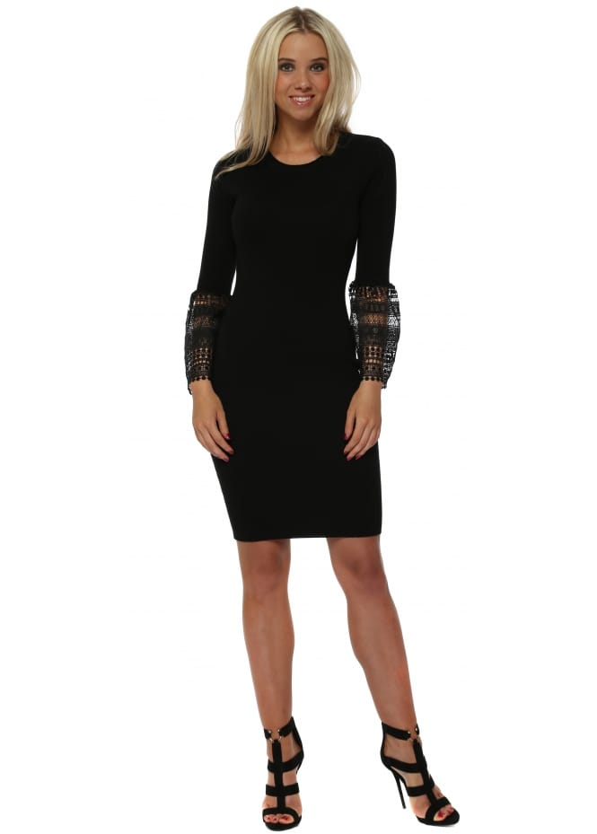 Drole de Copine Black Knitted Midi Dress With Bell Lace Cuffs