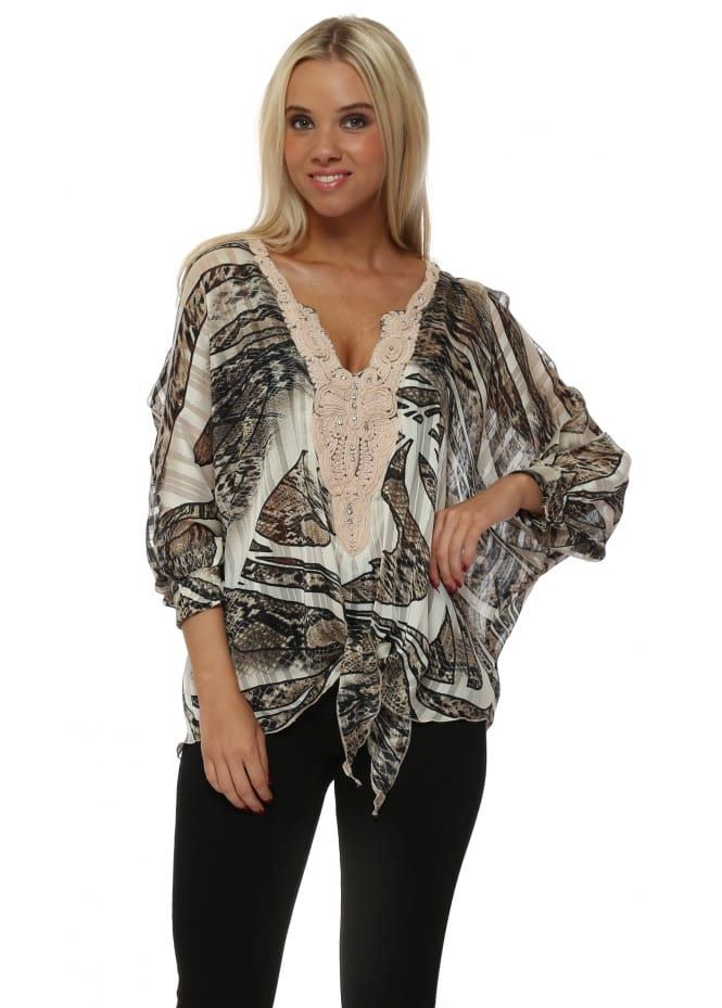 Laurie & Joe Snake Print Swirl Sequin Neckline Tie Top