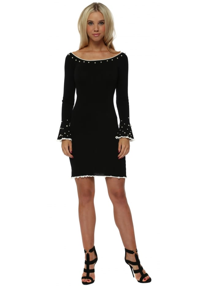 French Boutique Black Knitted Dress With Pearl Embellishment