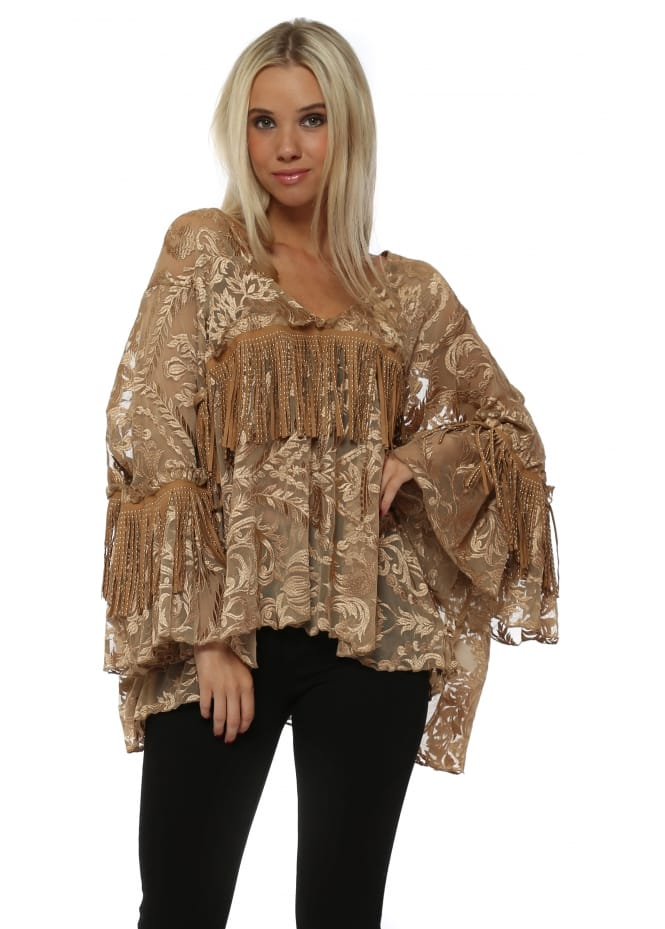 Laurie & Joe Tan Tulle Embroidered Tassle Blouse Top