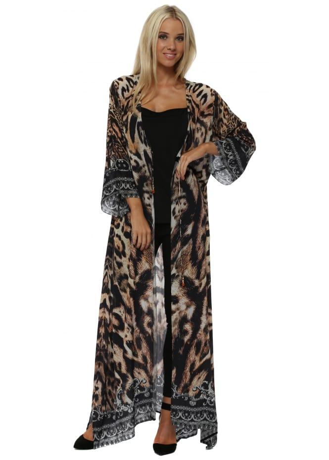 Woodford & Reay Leopard Print Tie Front Maxi Kimono