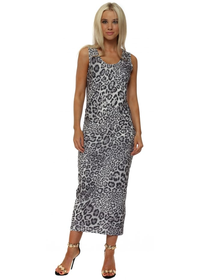A Postcard From Brighton Brittany Big Kat Leopard Print Pencil Dress In Vanilla